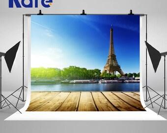 Blue Paris Eiffel Tower Sunset Photography Backdrops  Retro Wood Floor Photo Backgrounds for Build Landscape Studio Props