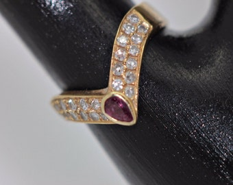 Antique original 14k gold brilliant ruby  decorated victorian ring