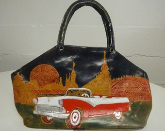 Vintage Wild Pair 100% Geniune Leather Handbag With A 1956 Ford Fairlane Design - FREE SHIPPING