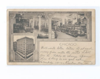 """MARSHALL FIELD & Co. Chicago, USA Multi View Postcard  """"Annex"""" at the Northwest Corner of Wabash and Washington Streets Brooklyn Oct 1904"""