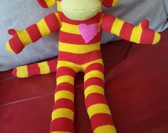Striped sock monkey