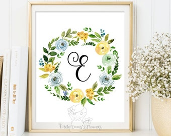Nursery letter with blue flowers, monogram art, printable initials, calligraphy monogram girl kid print nursery monogram floral initial 22