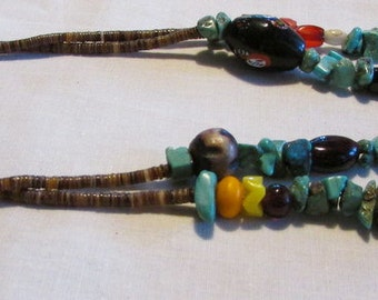 Two Strand Turquoise Treasure Necklace with Interesting Beads