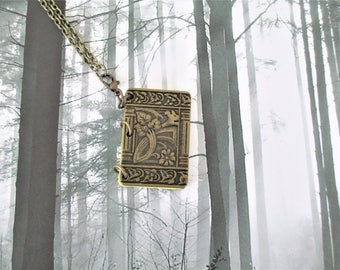 Mini Book Necklace, Book Necklace, Real Mini Book Necklace, Book Pendant, Mini Book Pendant