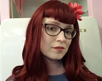 Custom wig, wine red, bangs, rockabilly, rock n roll, vintage, retro look, pin up