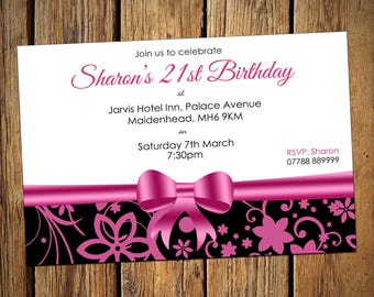 21st Birthday Personalised Party Invitations Pink Bow