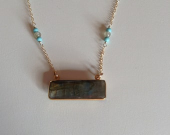 Labradorite Bar Gemstone Necklace