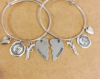Two Thelma and Louise adjustable letter bracelet