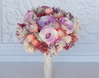 Lavender, pink and Dusty rose bridal bouquet, Preserved Dried flowers, roses, hydrangea, dusty miller, real flowers,