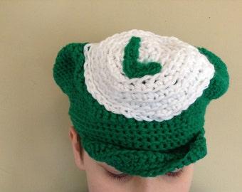 Luigi Crochet Hat/Luigi Hat/Luigi Newsboy Hat/Luigi Cosplay/Luigi Costume/Mario Brothers/Mario Luigi Hats/Gamer Hats/Gamer Cosplay/Costumes