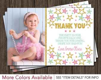 Twinkle Twinkle Little Star Thank You Card - First Birthday Thank You Card