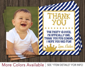 Prince Thank You Card -  Royal Blue First Birthday Thank You Card