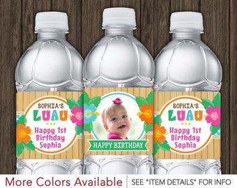 Luau Water Bottle Labels - Printable Hawaiian Birthday Party Decorations - DIY Digital File