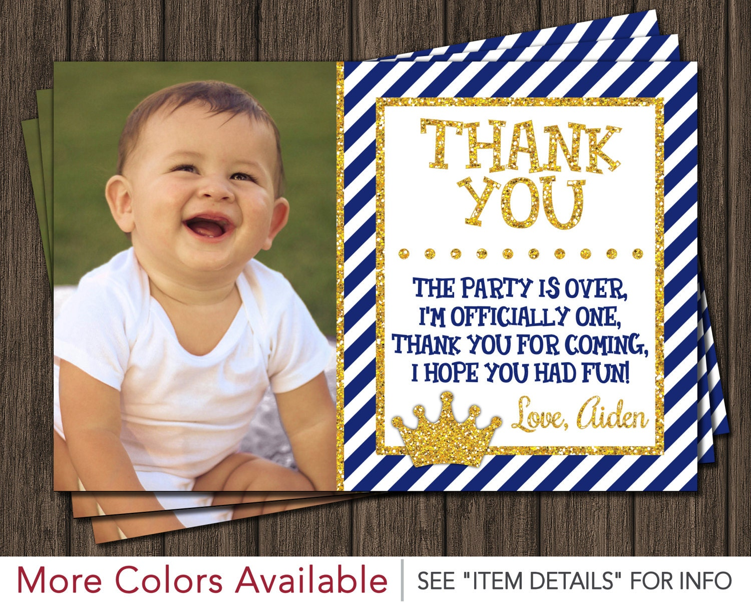 Prince Thank You Card Royal Blue First Birthday Thank You – Prince 1st Birthday Invitations