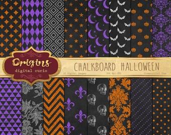 70% OFF Halloween Chalkboard Digital Paper Halloween patterns, Chalk digital paper backgrounds, digital instant download commercial use
