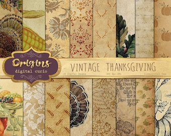 70% OFF Vintage Thanksgiving Digital Paper - Autumn Harvest Bounty Fall Thanksgiving Antique Scrapbook Paper Pack Old Paper Instant Download