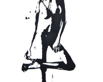 Nacked, Black and white Art, Original Art, Acrylic painting, Acryl on Paper, Woman , Realism, Abstract, Certificate, 16,1 x 24,4 in