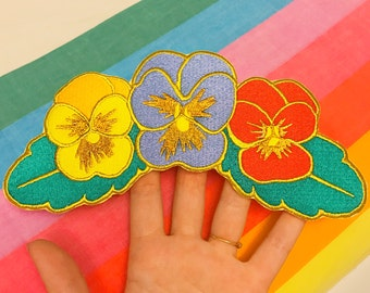 Large Primary Color Pansy Flower Embroidered Back Patch, Huge Oversized Patch for Jackets, Iron on Patch, Sew on Patch, Flower Pansy Patch