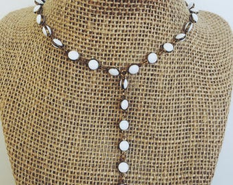 White Dot Y-Necklace