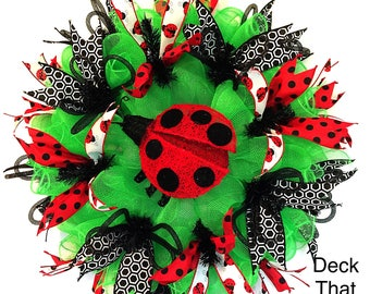 Green, Red, and Black Lady Bug Summer Mesh Wreath, Deck That Wall