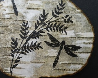 Dragonfly painting on birch bark in black frame,birch bark art,Dragonfly art,birch bark painting,Rustic Dragonfly art