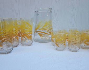Vintage Libbey Wheat Glass Pitcher and cup sets