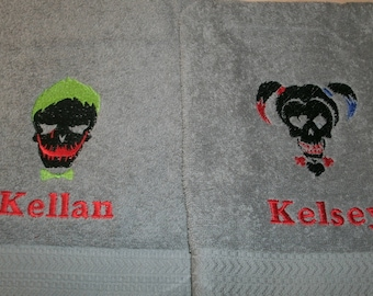 Joker and Harley Skulls His Hers Personalized Bath Towels Set