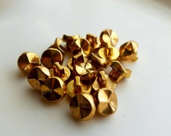 Vintage mini gold nugget buttons. Lot of 20. (Feb42)