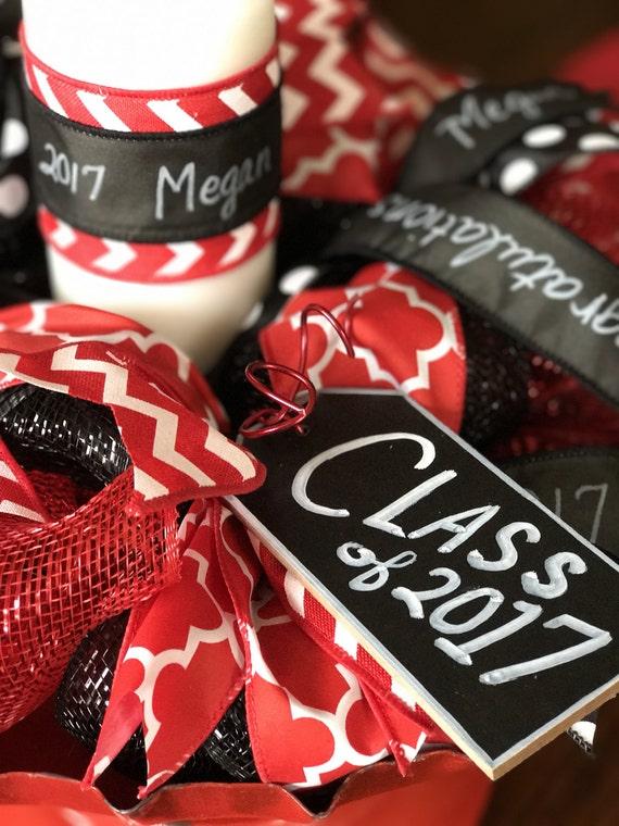Graduation centerpiece party red white black senior