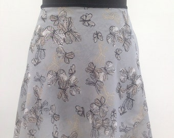 Grey and gold butterflies - Ballet wrap skirt, made to order