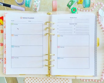 A5 Planner Inserts Weekly A5 Planner Printable Weekly A5 Insert Week on 2 Pages WO2P A5 Planner Pages A5 Filofax Refill PDF