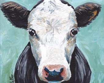 "Canvas Cow art print from original canvas cow painting, sweet cow ""Maybeline"""