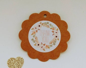 48 Thank You Stickers - Vintage style, floral wreath - Favours, envelope seals, cardmaking, giftwrapping
