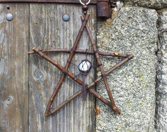 Blackthorn & Hematite Pentagram, Pentagram Decor, Witchcraft, Protection Amulet, Pagan Altar, Witch, Pagan, Wiccan Decor, Magick