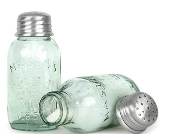 Salt & Pepper Shakers - - Reproductions of Vintage Mason Jars