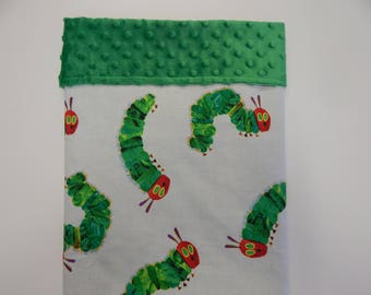 Very Hungry Caterpillar Minkee Dot Backed Blanket!!! Beautiful Baby Gift **Bassinet Cradle Moses Basket Capsule Size** 75cm  x 55cm