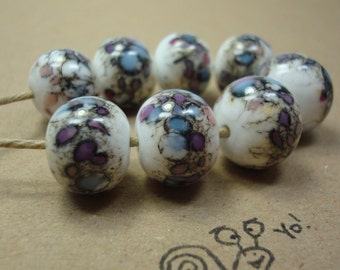 Handmade Lampwork Beads, Spacer Beads, White Purple Pink, Silvered Ivory Glass, Colorful Fun Beads, Lampwork Frit Beads, Ready To Ship.