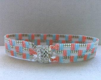 Bracelet, Coastal Living coral and sea blue Beaded Bracelet