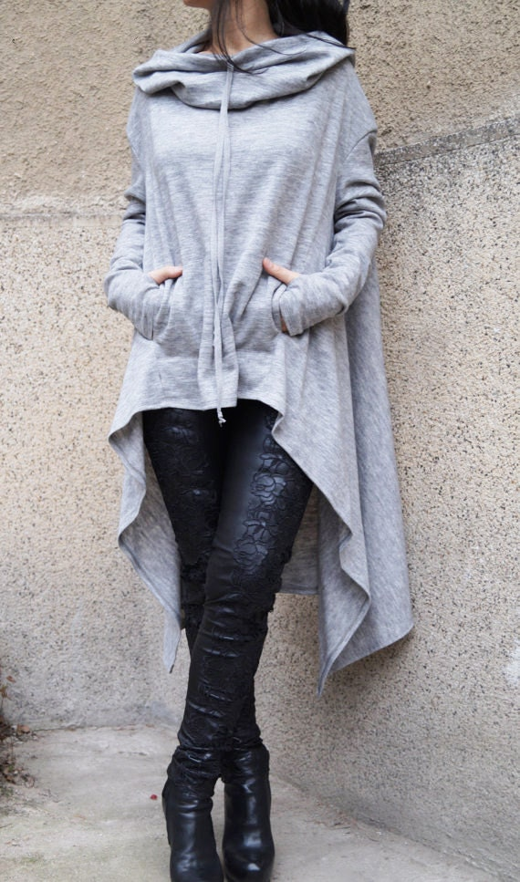 Gray Maxi Sweater/Extravagant Blouse/Loose Knitwear/ Hooded
