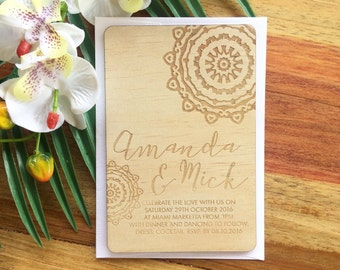 Wood Wedding invitation, mendala design.  Laser Etched Wooden Invitation. A6 size