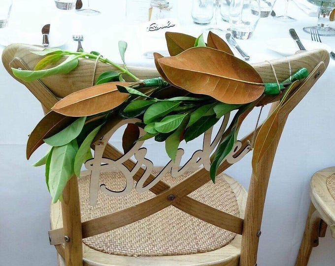 Bride and Groom chair signs, laser cut chair signs.