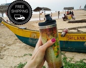 Travel mug World map ( travel cup, thermocup, thermomug, Personalized Tumbler, Travel Coffee Mug, travel mug, Tumbler, Funny travel mug)