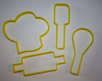 Kitchen Utensil Cookie Cutter Set Chef Hat Spatula Whisk Rolling Pin