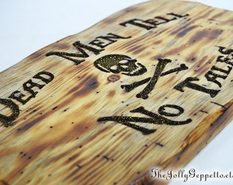 Pirate Sign, Dead Men Tell No Tales Skull Cross Bone Carved Wood Pirate Sign, Pirates of the Caribbean, Pirate Decor, Disneyland Pirate Sign