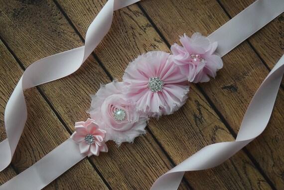 Flower Sash,  small baby pink  Sash , flower Belt, maternity sash, wedding sash, maternity sash girl, flower girl sash
