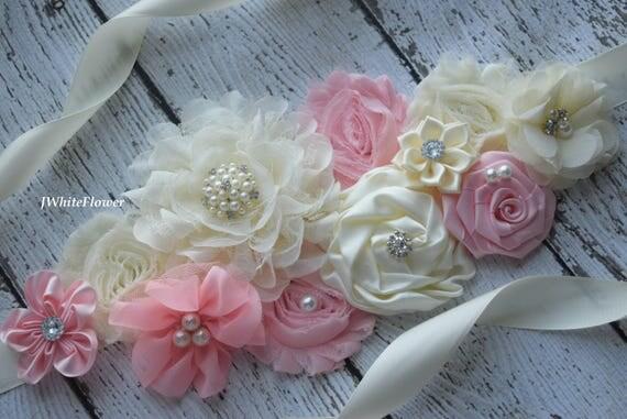 Maternity sash belt, blush pink ivory Sash , sash,  flower Belt, maternity sash, baby shower gift