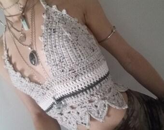 Hand crochet halter top