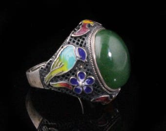 "Canadian Jade Oxidized silver with cloisonne enamel -  adjustable- 10% off - Promo Code ""SUMMER17"""