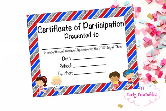 Instant download fun run certificate jog a thon award for Fun run certificate template