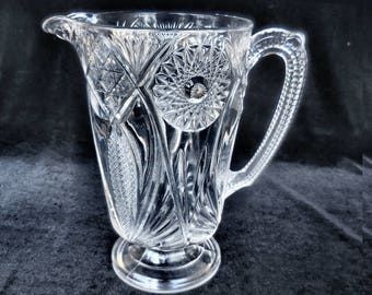 "McKee Pressed Glass Water Pitcher in the ""Jubilee"" or ""Isis"" pattern circa 1890s"